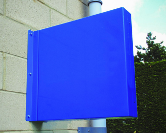 Side view of a projecting tray sign